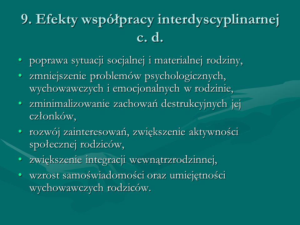 9. Efekty współpracy interdyscyplinarnej c. d. poprawa sytuacji socjalnej i materialnej rodziny,poprawa sytuacji socjalnej i materialnej rodziny, zmni