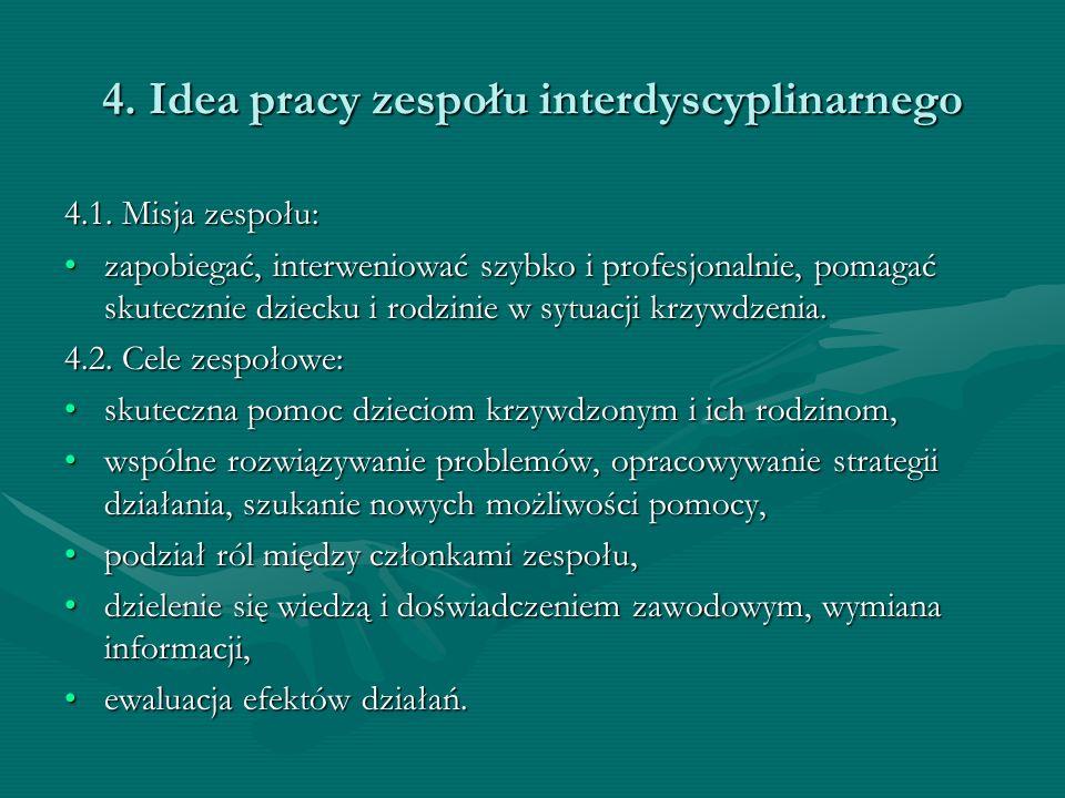 4. Idea pracy zespołu interdyscyplinarnego 4.1. Misja zespołu: zapobiegać, interweniować szybko i profesjonalnie, pomagać skutecznie dziecku i rodzini