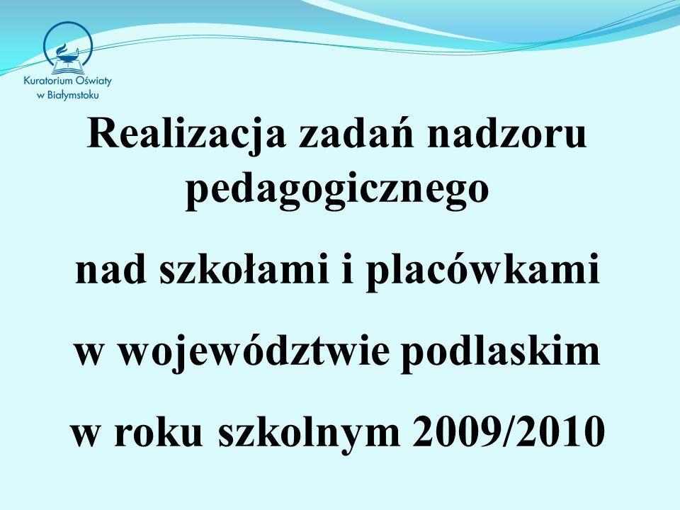 Realizacja zadań nadzoru pedagogicznego nad szkołami i placówkami w województwie podlaskim w roku szkolnym 2009/2010
