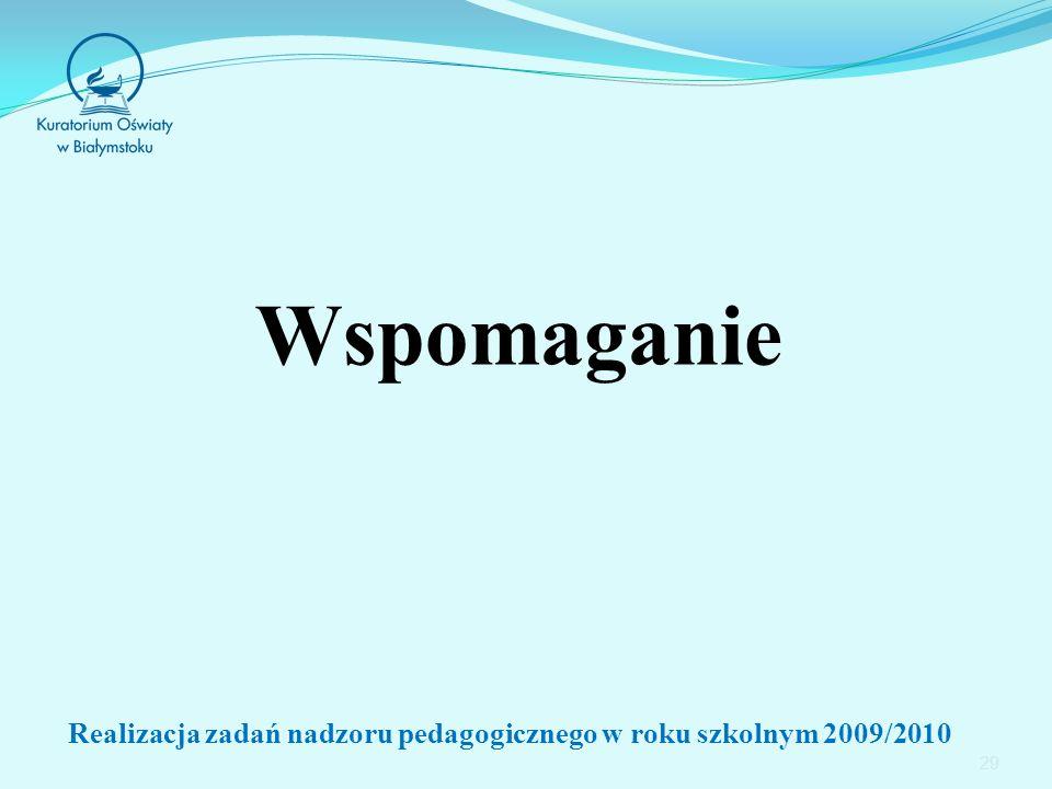 Wspomaganie 29 Realizacja zadań nadzoru pedagogicznego w roku szkolnym 2009/2010
