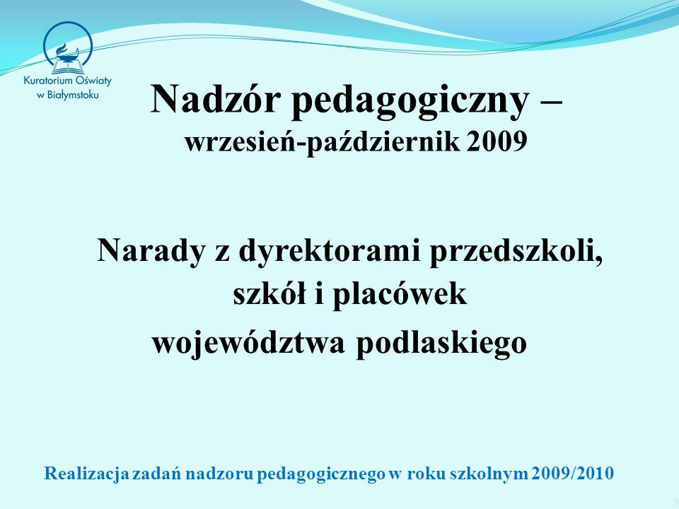 Nadzór pedagogiczny – wrzesień-październik 2009 Narady z dyrektorami przedszkoli, szkół i placówek województwa podlaskiego Realizacja zadań nadzoru pedagogicznego w roku szkolnym 2009/2010 3