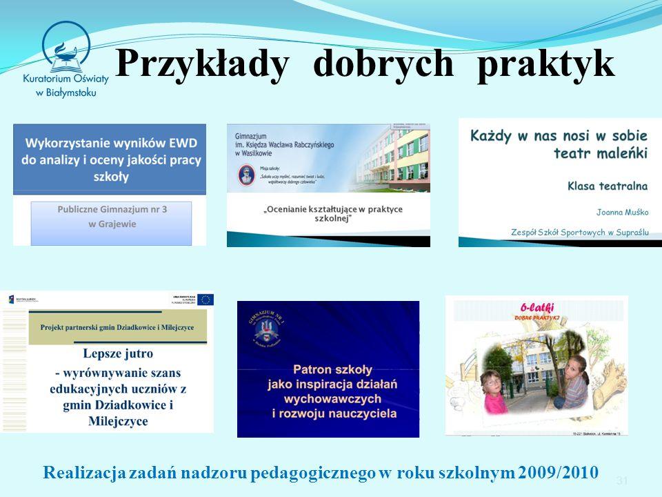 Przykłady dobrych praktyk 31 Realizacja zadań nadzoru pedagogicznego w roku szkolnym 2009/2010