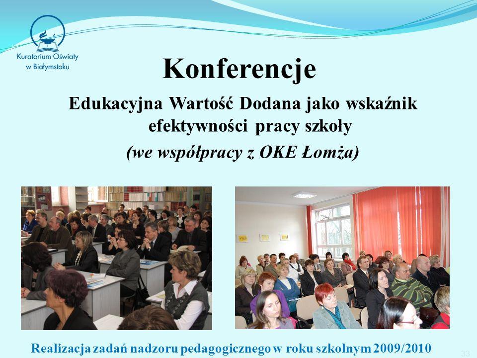 Konferencje Edukacyjna Wartość Dodana jako wskaźnik efektywności pracy szkoły (we współpracy z OKE Łomża) 33 Realizacja zadań nadzoru pedagogicznego w roku szkolnym 2009/2010