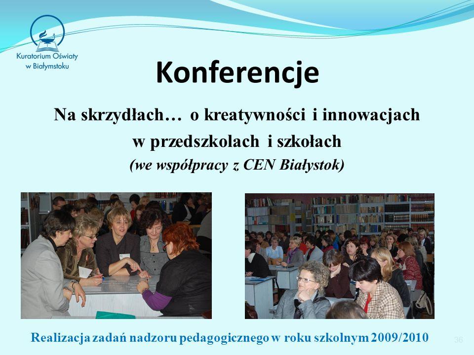 Konferencje Na skrzydłach… o kreatywności i innowacjach w przedszkolach i szkołach (we współpracy z CEN Białystok) 36 Realizacja zadań nadzoru pedagogicznego w roku szkolnym 2009/2010