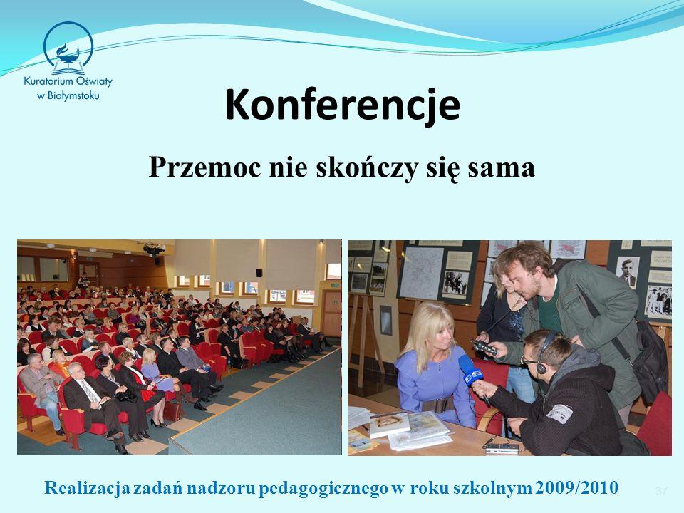 Konferencje Przemoc nie skończy się sama 37 Realizacja zadań nadzoru pedagogicznego w roku szkolnym 2009/2010