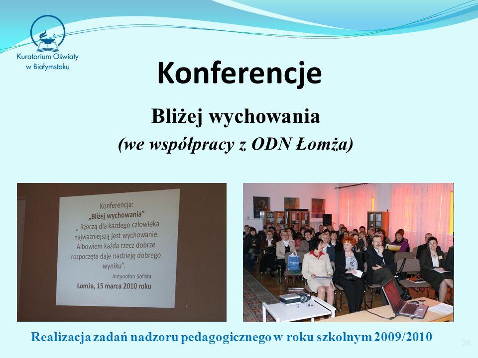 Konferencje Bliżej wychowania (we współpracy z ODN Łomża) 38 Realizacja zadań nadzoru pedagogicznego w roku szkolnym 2009/2010