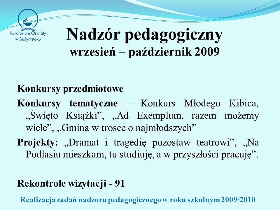 15 www.kuratorium.bialystok.pl (zakładka nadzór pedagogiczny, podzakładka ewaluacja) www.nadzorpedagogiczny.edu.pl (zakładka System Ewaluacji Oświaty) Realizacja zadań nadzoru pedagogicznego w roku szkolnym 2009/2010