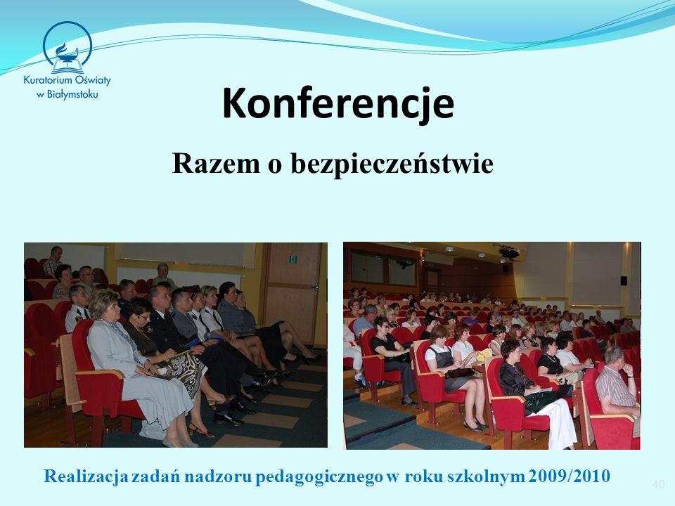 Konferencje Razem o bezpieczeństwie 40 Realizacja zadań nadzoru pedagogicznego w roku szkolnym 2009/2010