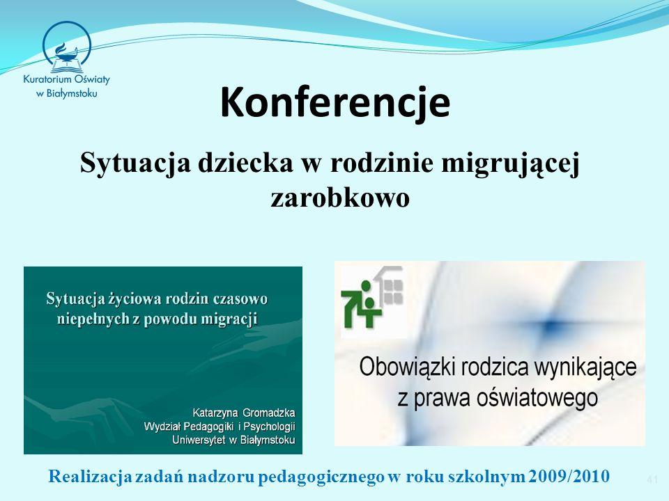 Konferencje Sytuacja dziecka w rodzinie migrującej zarobkowo 41 Realizacja zadań nadzoru pedagogicznego w roku szkolnym 2009/2010