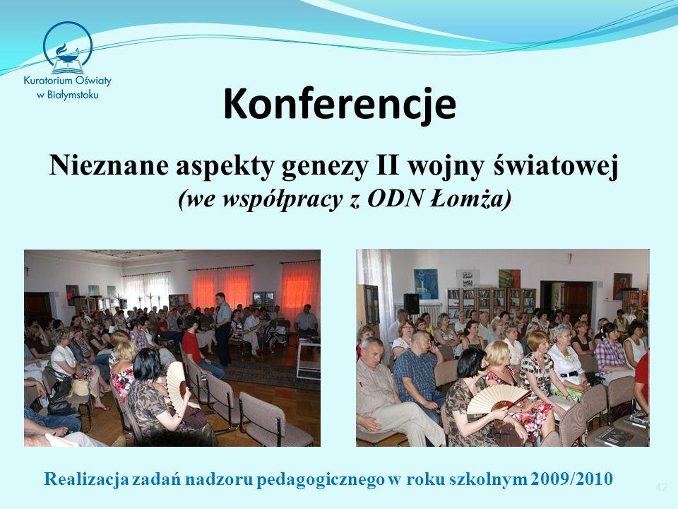 Konferencje Nieznane aspekty genezy II wojny światowej (we współpracy z ODN Łomża) 42 Realizacja zadań nadzoru pedagogicznego w roku szkolnym 2009/2010