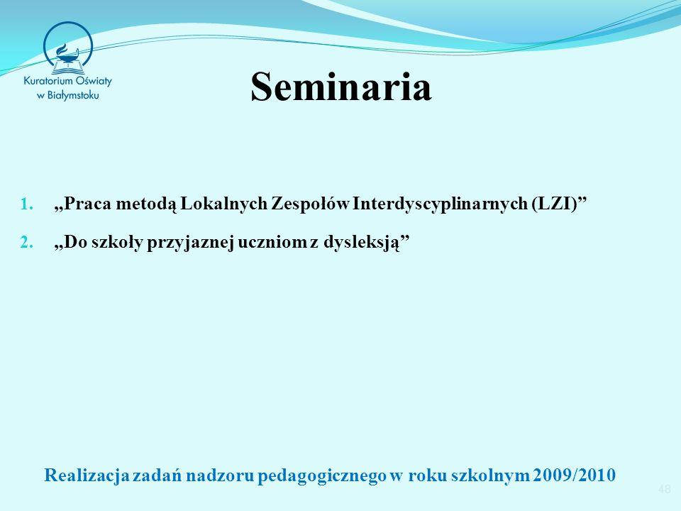 Seminaria 1. Praca metodą Lokalnych Zespołów Interdyscyplinarnych (LZI) 2.