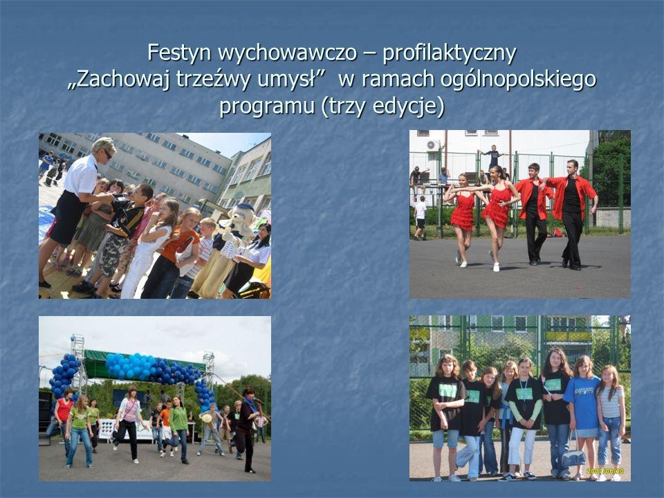 Festyn wychowawczo – profilaktyczny Zachowaj trzeźwy umysł w ramach ogólnopolskiego programu (trzy edycje)