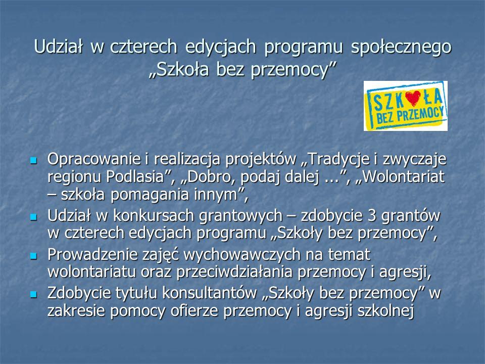 Udział w czterech edycjach programu społecznego Szkoła bez przemocy Opracowanie i realizacja projektów Tradycje i zwyczaje regionu Podlasia, Dobro, po