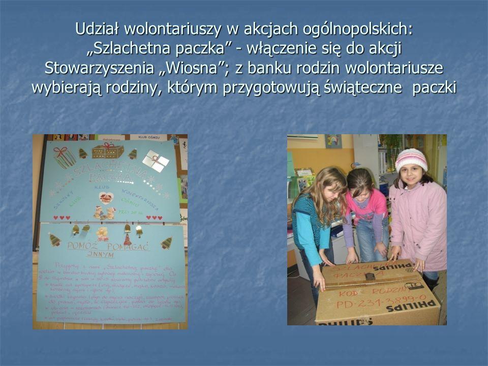 Udział wolontariuszy w akcjach ogólnopolskich: Szlachetna paczka - włączenie się do akcji Stowarzyszenia Wiosna; z banku rodzin wolontariusze wybieraj