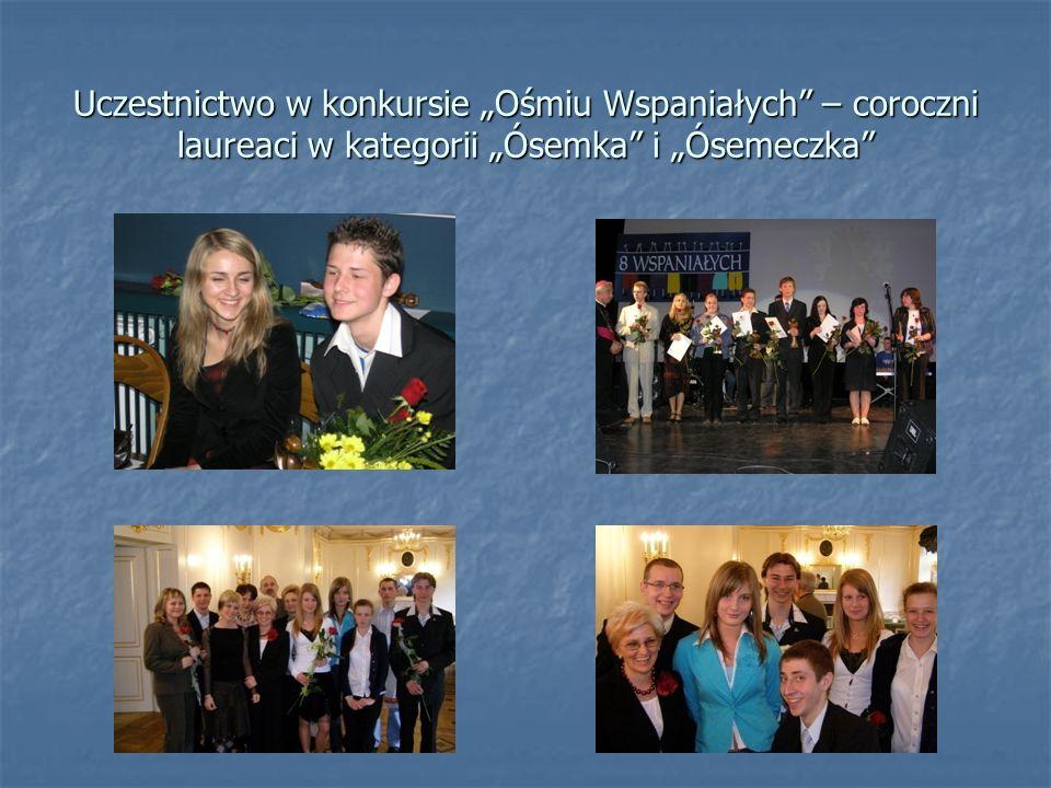 Uczestnictwo w konkursie Ośmiu Wspaniałych – coroczni laureaci w kategorii Ósemka i Ósemeczka