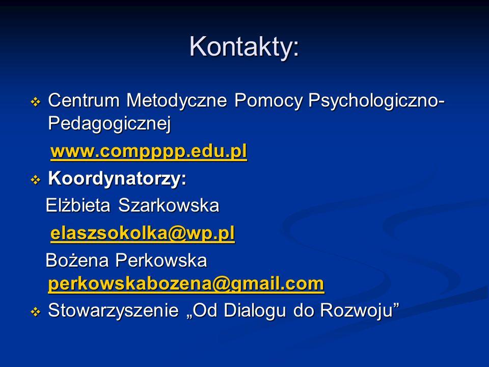 Kontakty: Centrum Metodyczne Pomocy Psychologiczno- Pedagogicznej Centrum Metodyczne Pomocy Psychologiczno- Pedagogicznej www.compppp.edu.pl www.compp