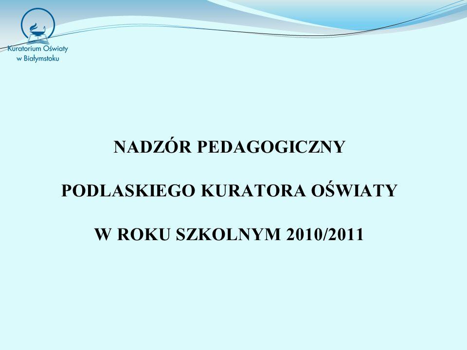 NADZÓR PEDAGOGICZNY PODLASKIEGO KURATORA OŚWIATY W ROKU SZKOLNYM 2010/2011