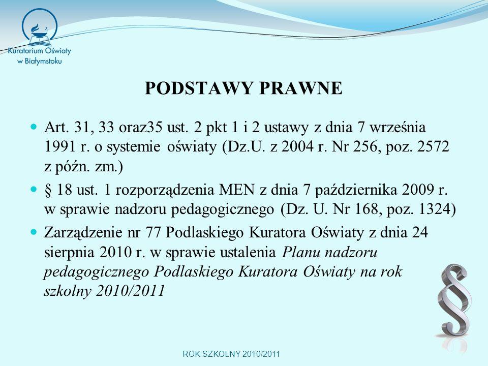ROK SZKOLNY 2010/2011 PODSTAWY PRAWNE Art.31, 33 oraz35 ust.