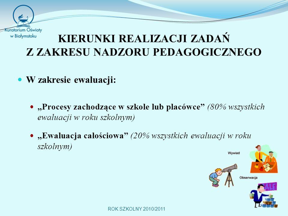 ROK SZKOLNY 2010/2011 KIERUNKI REALIZACJI ZADAŃ Z ZAKRESU NADZORU PEDAGOGICZNEGO W zakresie ewaluacji: Procesy zachodzące w szkole lub placówce (80% wszystkich ewaluacji w roku szkolnym) Ewaluacja całościowa (20% wszystkich ewaluacji w roku szkolnym)