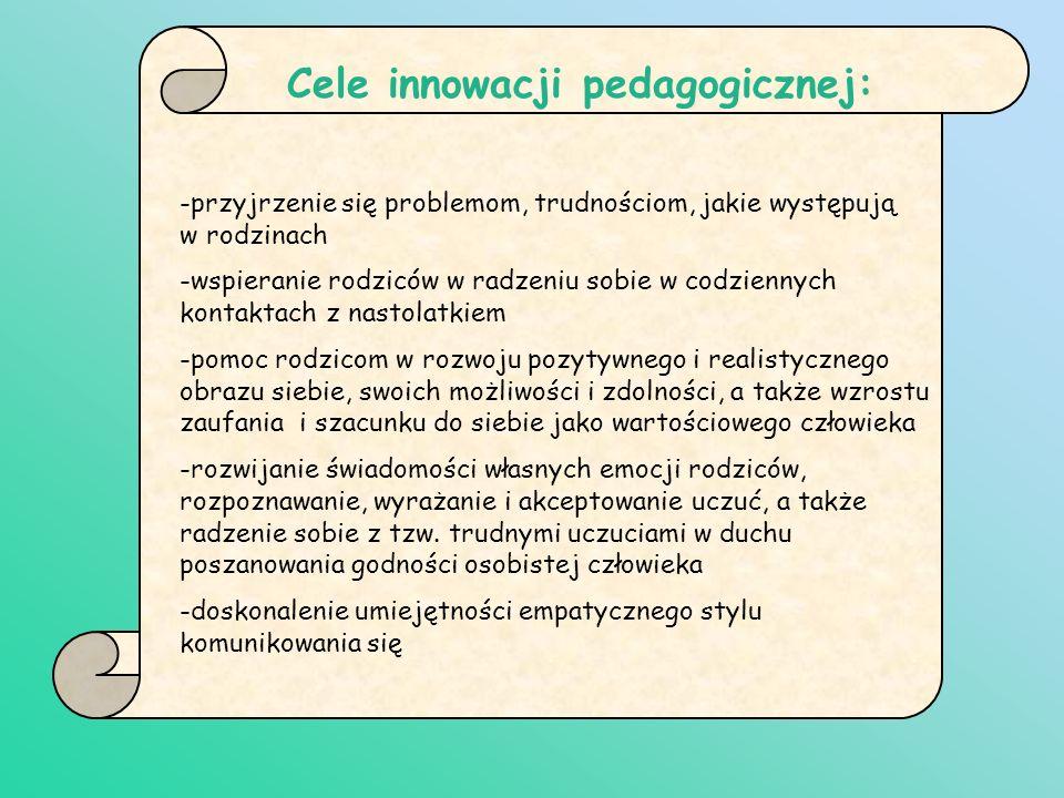Cele innowacji pedagogicznej: -przyjrzenie się problemom, trudnościom, jakie występują w rodzinach -wspieranie rodziców w radzeniu sobie w codziennych