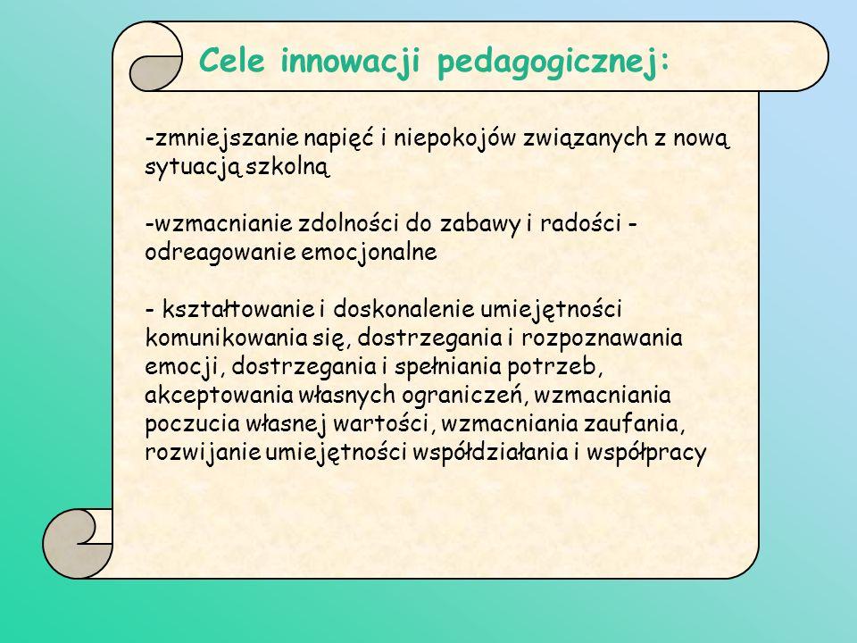 Cele innowacji pedagogicznej: -zmniejszanie napięć i niepokojów związanych z nową sytuacją szkolną -wzmacnianie zdolności do zabawy i radości - odreag
