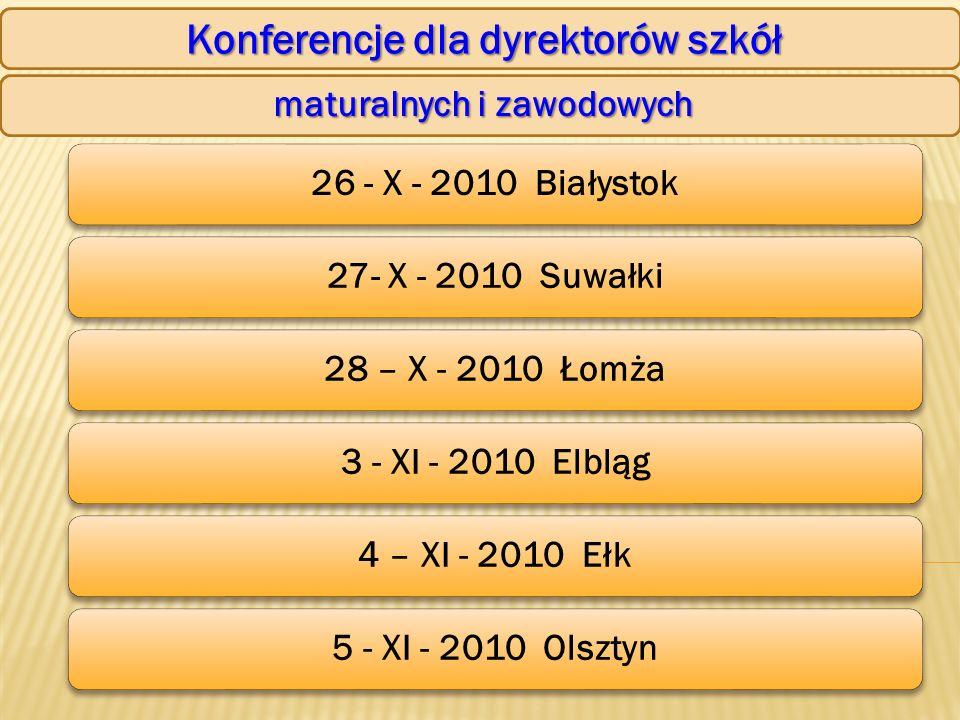 Konferencje dla dyrektorów szkół maturalnych i zawodowych 26 - X - 2010 Białystok27- X - 2010 Suwałki28 – X - 2010 Łomża3 - XI - 2010 Elbląg4 – XI - 2010 Ełk5 - XI - 2010 Olsztyn