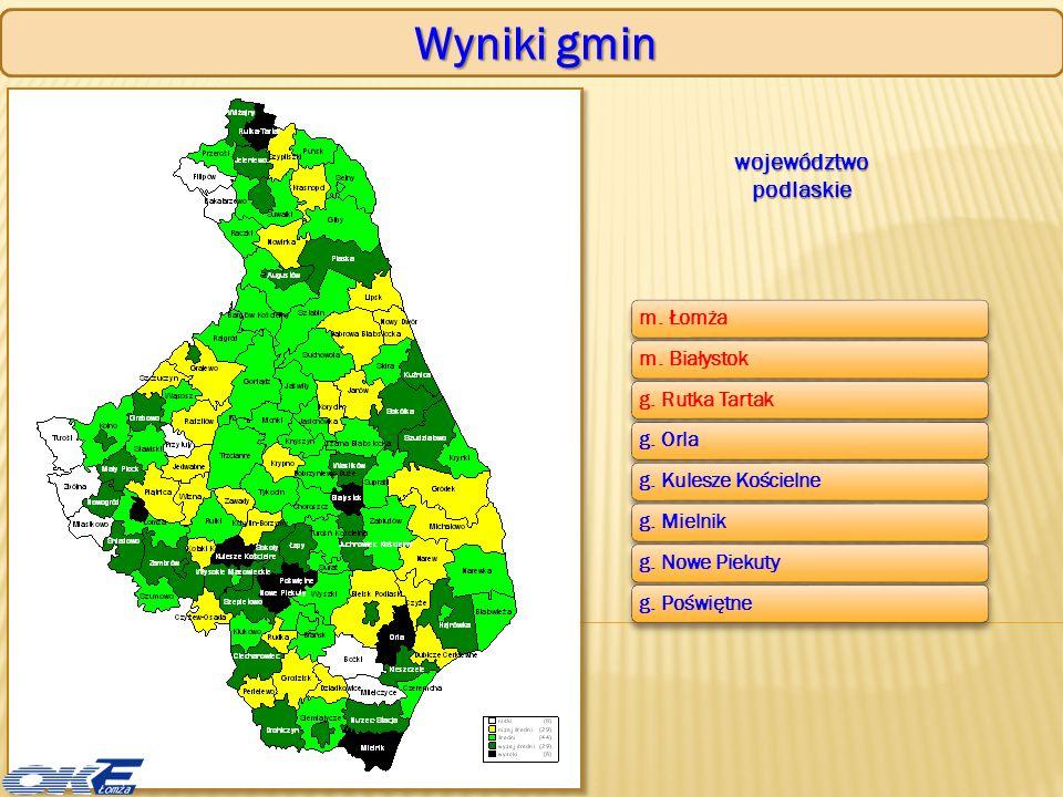 Ogólne wyniki egzaminu maturalnego zdawalność w powiatach – rok 2009 i 2010 województwo podlaskie