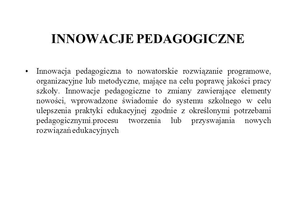 INNOWACJE PEDAGOGICZNE Innowacja pedagogiczna to nowatorskie rozwiązanie programowe, organizacyjne lub metodyczne, mające na celu poprawę jakości pracy szkoły.