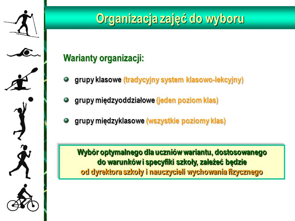 Organizacja zajęć do wyboru Warianty organizacji: grupy klasowe (tradycyjny system klasowo-lekcyjny) grupy klasowe (tradycyjny system klasowo-lekcyjny