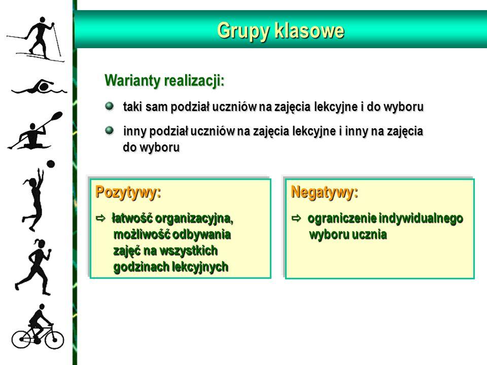 Grupy klasowe Warianty realizacji: taki sam podział uczniów na zajęcia lekcyjne i do wyboru taki sam podział uczniów na zajęcia lekcyjne i do wyboru i