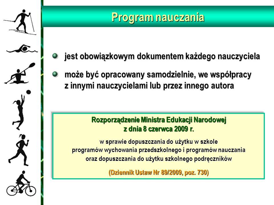 Program nauczania Rozporządzenie Ministra Edukacji Narodowej z dnia 8 czerwca 2009 r. w sprawie dopuszczania do użytku w szkole programów wychowania p