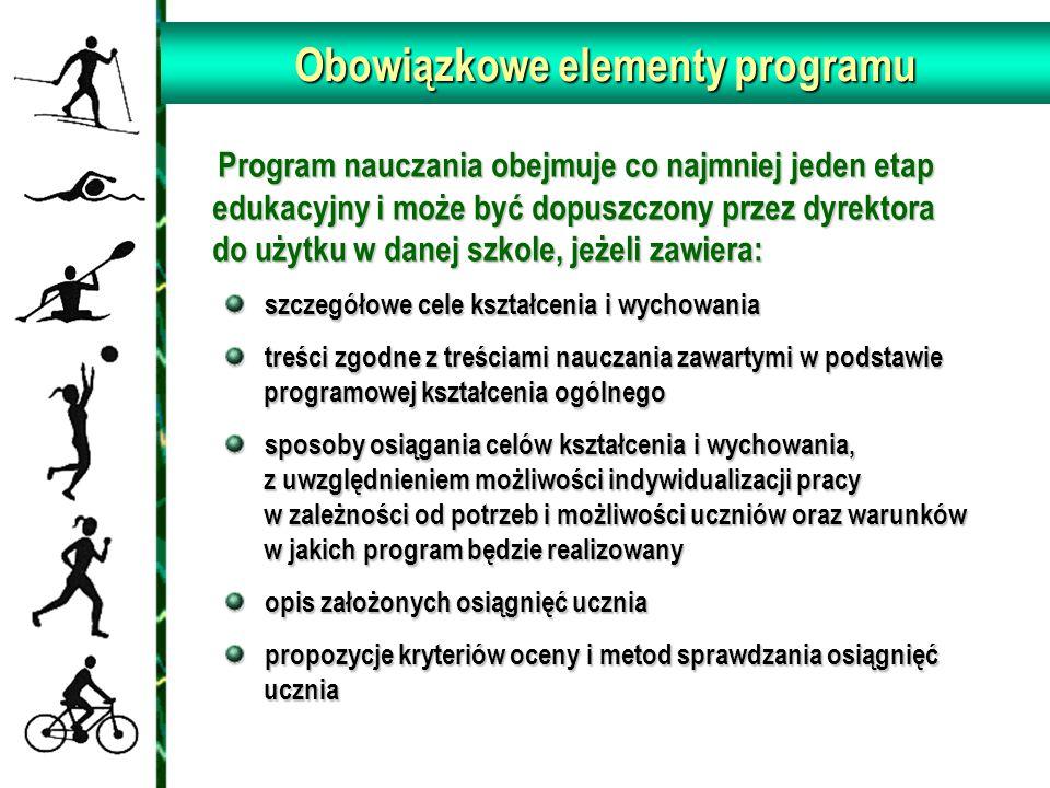 Obowiązkowe elementy programu Program nauczania obejmuje co najmniej jeden etap edukacyjny i może być dopuszczony przez dyrektora do użytku w danej sz