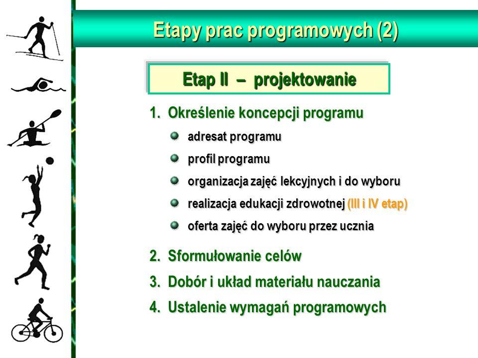 Etapy prac programowych (2) Etap II – projektowanie 1. Określenie koncepcji programu 1. Określenie koncepcji programu adresat programu profil programu