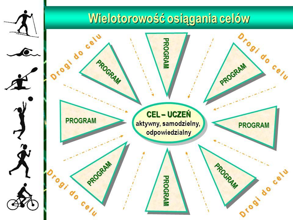Wielotorowość osiągania celów CEL – UCZEŃ aktywny, samodzielny, odpowiedzialny PROGRAM PROGRAM PROGRAM PROGRAM PROGRAM PROGRAM PROGRAM PROGRAM D r o g