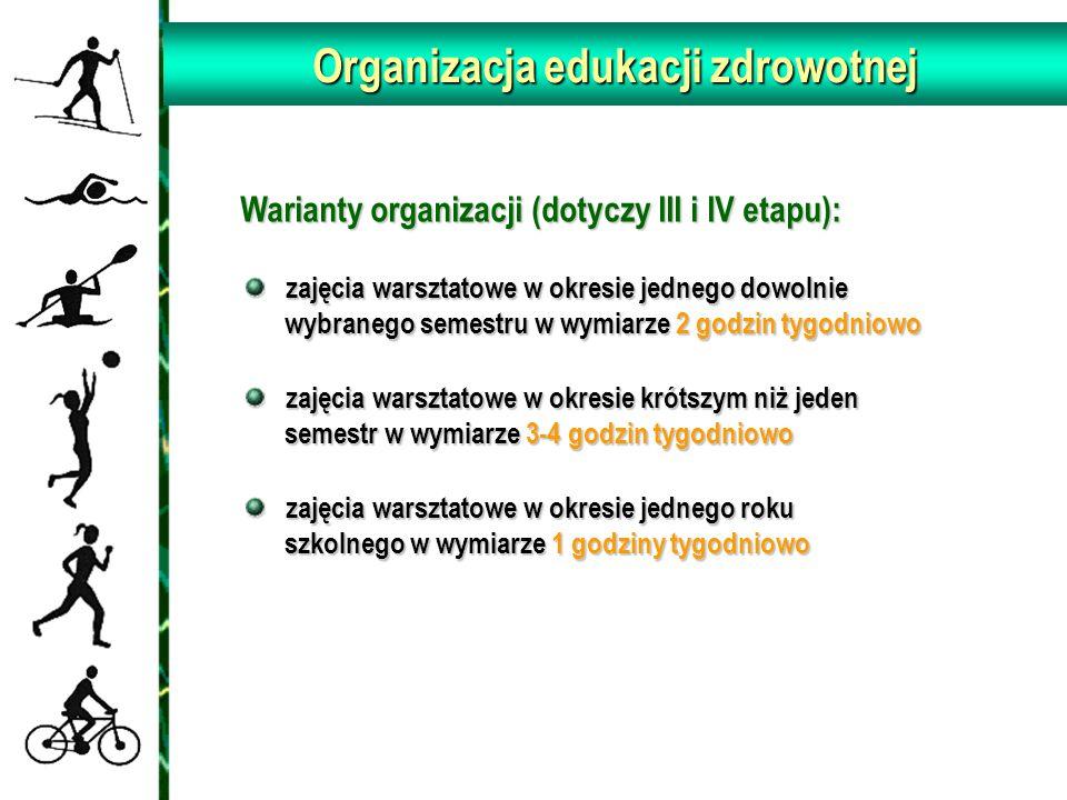 Organizacja edukacji zdrowotnej Warianty organizacji (dotyczy III i IV etapu): Warianty organizacji (dotyczy III i IV etapu): zajęcia warsztatowe w ok