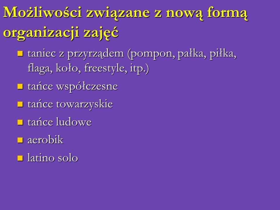 Możliwości związane z nową formą organizacji zajęć taniec z przyrządem (pompon, pałka, piłka, flaga, koło, freestyle, itp.) taniec z przyrządem (pompo