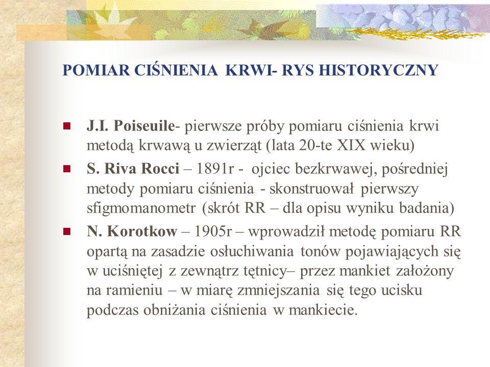 POMIAR CIŚNIENIA KRWI- RYS HISTORYCZNY J.I. Poiseuile- pierwsze próby pomiaru ciśnienia krwi metodą krwawą u zwierząt (lata 20-te XIX wieku) S. Riva R