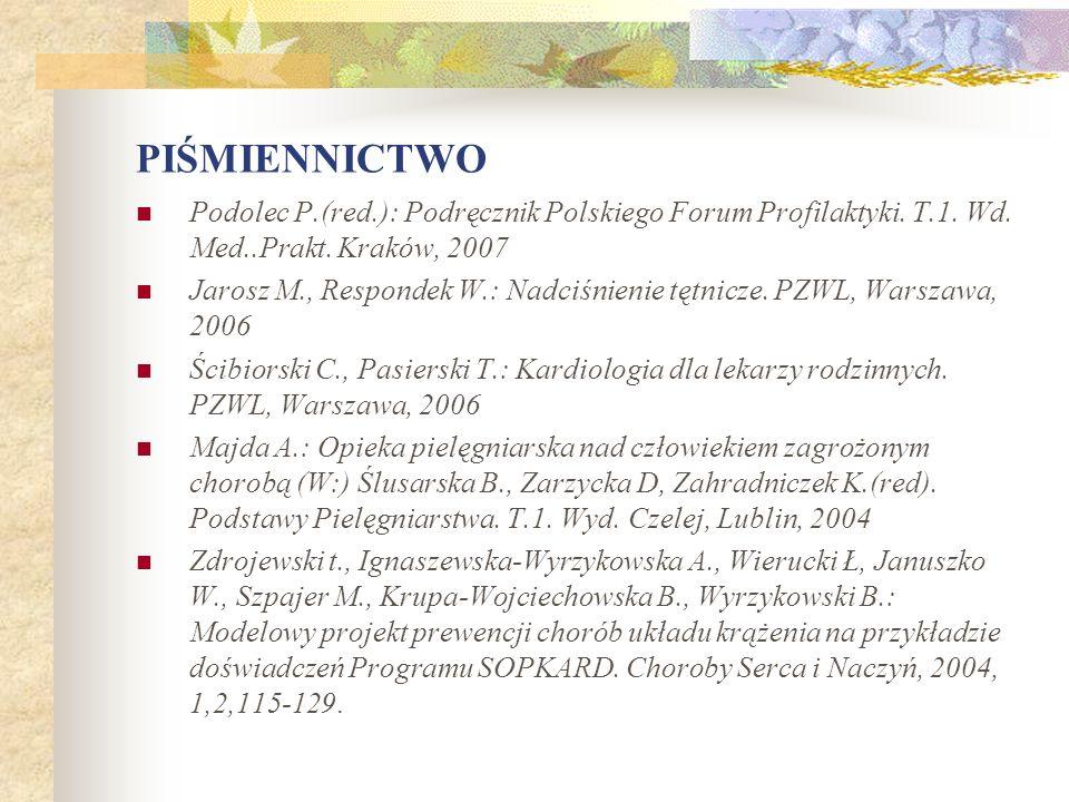 PIŚMIENNICTWO Podolec P.(red.): Podręcznik Polskiego Forum Profilaktyki. T.1. Wd. Med..Prakt. Kraków, 2007 Jarosz M., Respondek W.: Nadciśnienie tętni