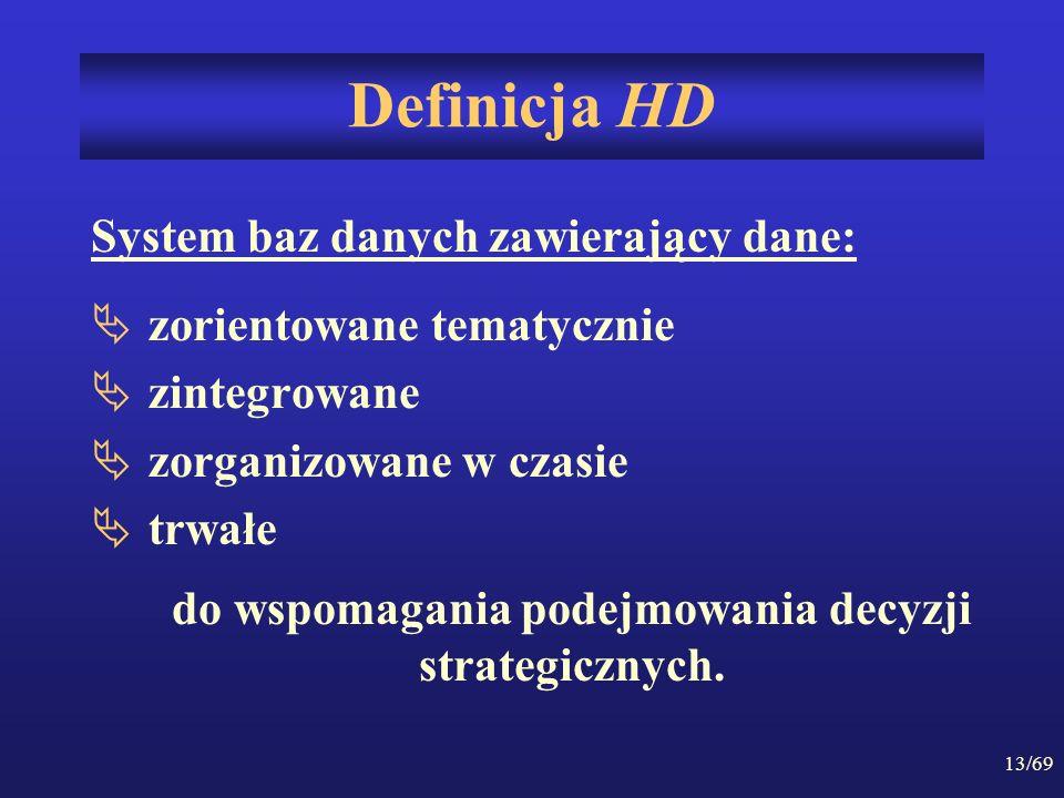 13/69 Definicja HD System baz danych zawierający dane: zorientowane tematycznie zintegrowane zorganizowane w czasie trwałe do wspomagania podejmowania