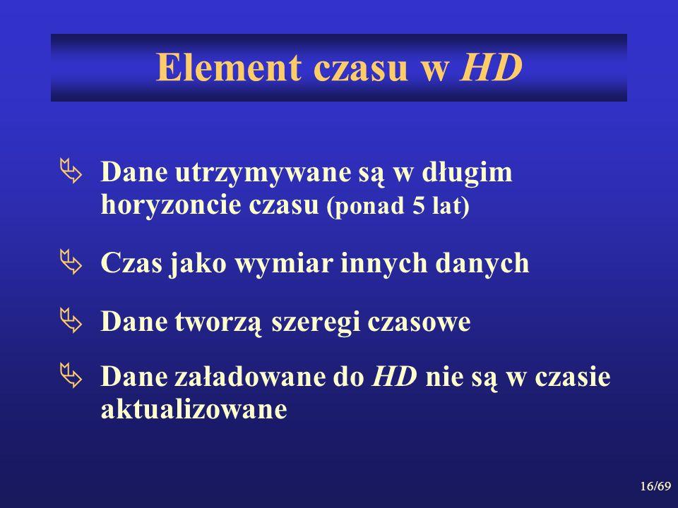 16/69 Element czasu w HD Dane utrzymywane są w długim horyzoncie czasu (ponad 5 lat) Czas jako wymiar innych danych Dane tworzą szeregi czasowe Dane z