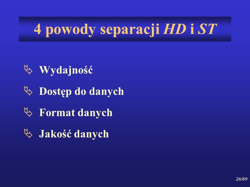 26/69 4 powody separacji HD i ST Wydajność Dostęp do danych Format danych Jakość danych