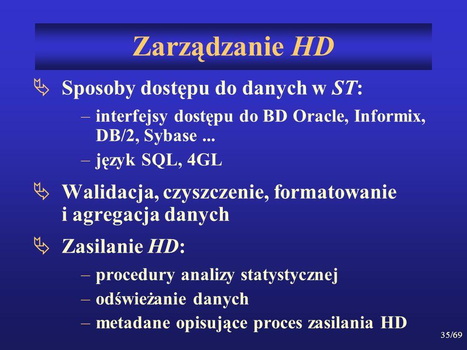 35/69 Zarządzanie HD Sposoby dostępu do danych w ST: –interfejsy dostępu do BD Oracle, Informix, DB/2, Sybase... –język SQL, 4GL Walidacja, czyszczeni