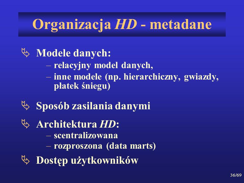 36/69 Organizacja HD - metadane Modele danych: –relacyjny model danych, –inne modele (np. hierarchiczny, gwiazdy, płatek śniegu) Sposób zasilania dany