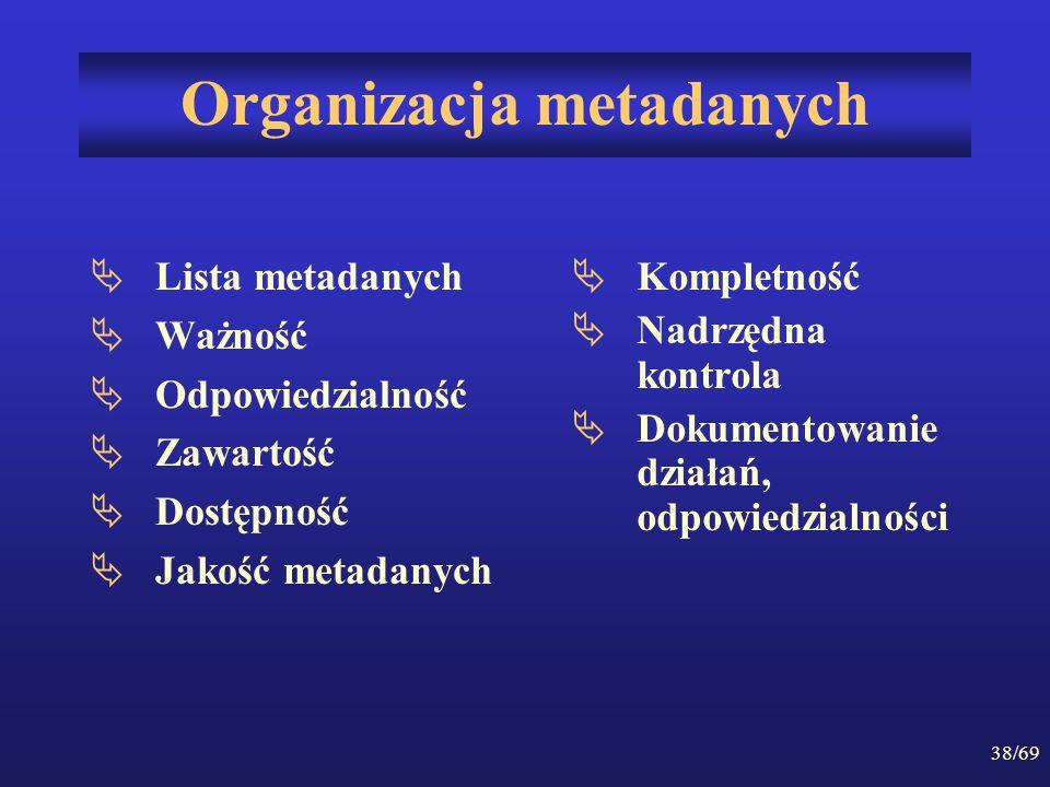 38/69 Organizacja metadanych Lista metadanych Ważność Odpowiedzialność Zawartość Dostępność Jakość metadanych Kompletność Nadrzędna kontrola Dokumento
