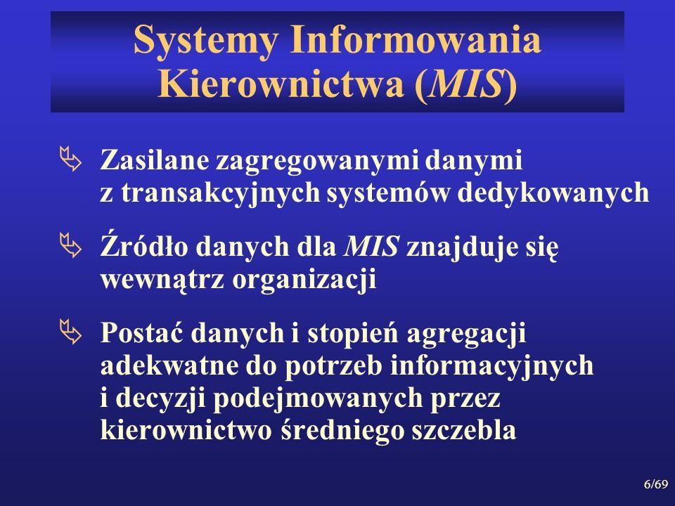 6/69 Systemy Informowania Kierownictwa (MIS) Zasilane zagregowanymi danymi z transakcyjnych systemów dedykowanych Źródło danych dla MIS znajduje się w