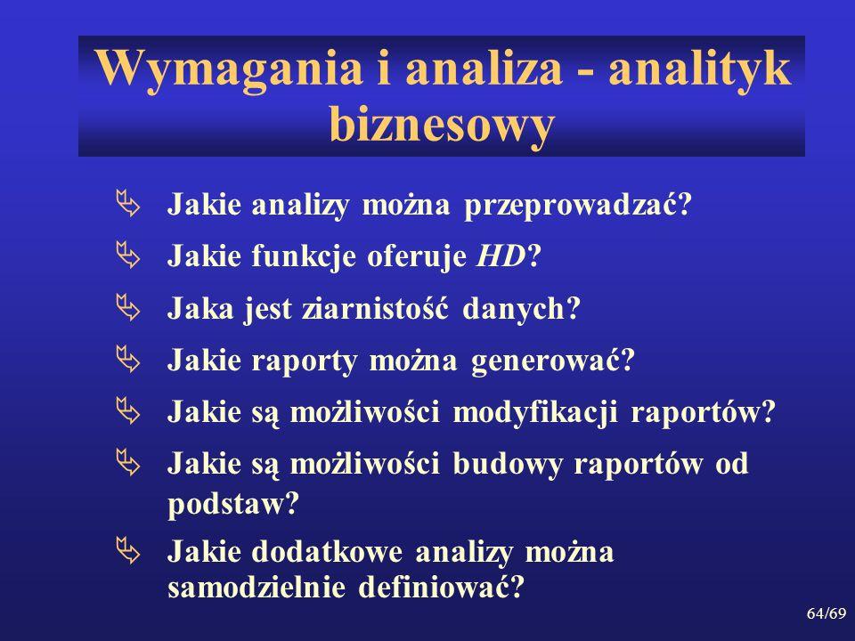 64/69 Wymagania i analiza - analityk biznesowy Jakie analizy można przeprowadzać? Jakie funkcje oferuje HD? Jaka jest ziarnistość danych? Jakie raport