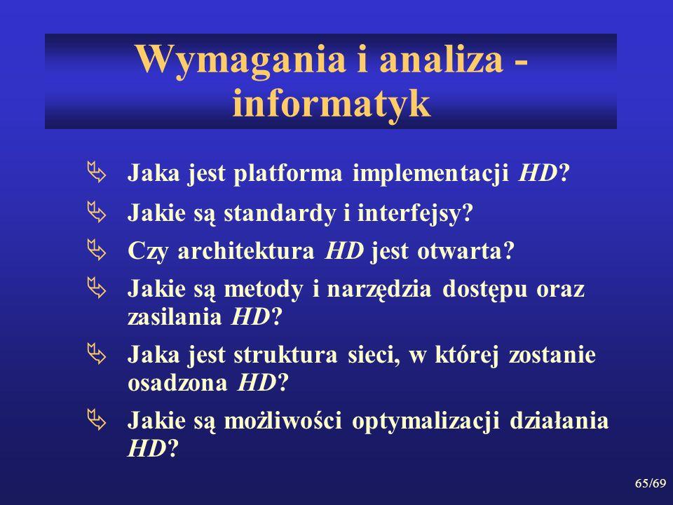 65/69 Wymagania i analiza - informatyk Jaka jest platforma implementacji HD? Jakie są standardy i interfejsy? Czy architektura HD jest otwarta? Jakie