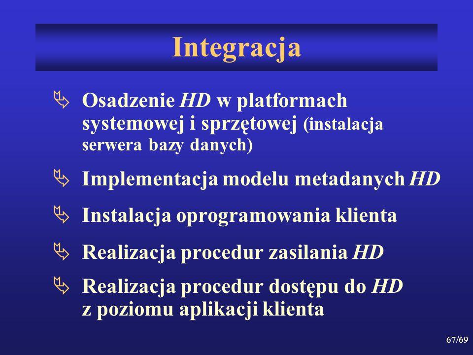67/69 Integracja Osadzenie HD w platformach systemowej i sprzętowej (instalacja serwera bazy danych) Implementacja modelu metadanych HD Instalacja opr