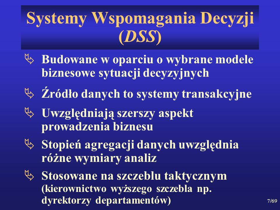 7/69 Systemy Wspomagania Decyzji (DSS) Budowane w oparciu o wybrane modele biznesowe sytuacji decyzyjnych Źródło danych to systemy transakcyjne Uwzglę