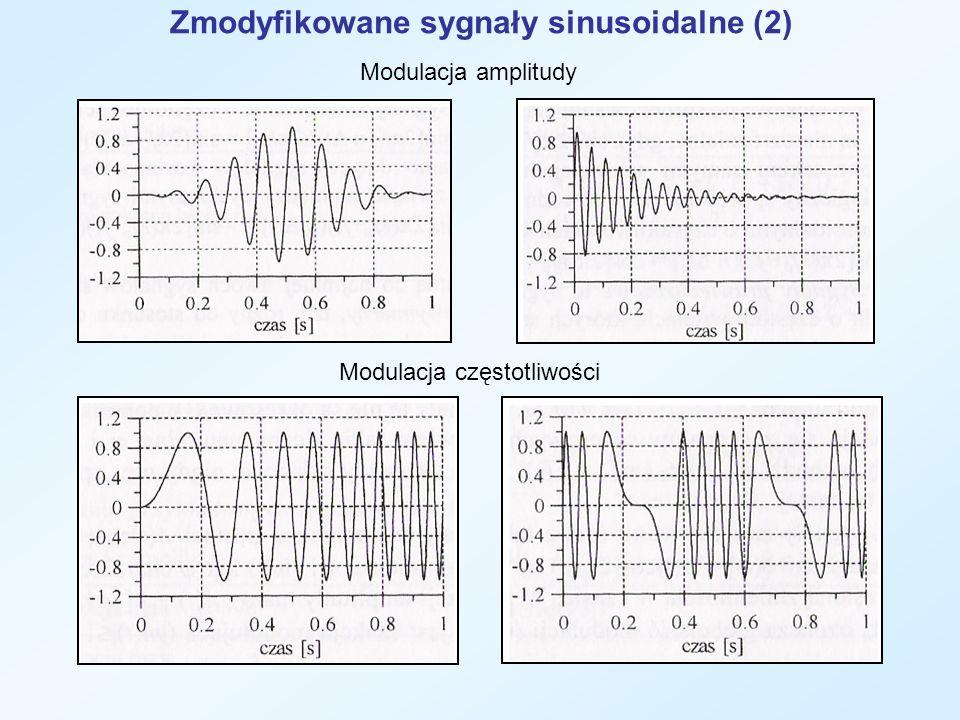 Zmodyfikowane sygnały sinusoidalne (2) Modulacja amplitudy Modulacja częstotliwości